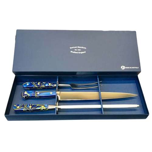 3 Piece Ocean Blue Carving Set